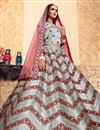 photo of Exclusive Grey Designer Satin Fabric Sangeet Wear Embroidered Lehenga