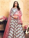 image of Exclusive Grey Designer Satin Fabric Sangeet Wear Embroidered Lehenga