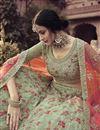 photo of Georgette Fabric Sangeet Wear Sea Green Color Embroidery Work Lehenga Choli