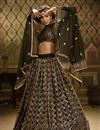 image of Sangeet Wear Black Color Net Fabric Sequins Work Lehenga
