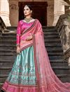 image of Exclusive Function Wear Satin Fabric Fancy Lehenga In Cyan Color