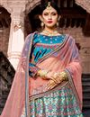 photo of Exclusive Cyan Color Satin Fabric Embellished Fancy Lehenga Choli