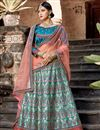 image of Exclusive Cyan Color Satin Fabric Embellished Fancy Lehenga Choli