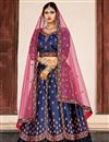 image of Exclusive Embellished Fancy Navy Blue Lehenga Choli In Satin Fabric