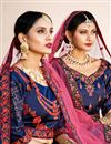 photo of Exclusive Navy Blue Satin Fabric Embellished Fancy Lehenga Choli