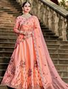 image of Exclusive Embellished Fancy Salmon Color Lehenga Choli In Satin Fabric