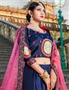 photo of Exclusive Navy Blue Satin Fabric Fancy Lehenga Choli For Functions