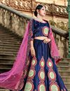 image of Exclusive Navy Blue Satin Fabric Fancy Lehenga Choli For Functions