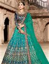 image of Exclusive Function Wear Teal Fancy Lehenga In Satin Fabric
