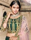 photo of Exclusive Taffeta Fabric Dark Green Embellished Fancy Lehenga Choli