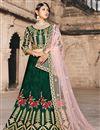 image of Exclusive Taffeta Fabric Dark Green Embellished Fancy Lehenga Choli