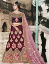 image of Exclusive Function Wear Maroon Fancy Lehenga In Taffeta Fabric