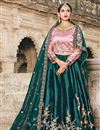 image of Exclusive Satin Fabric Teal Color Embellished Fancy Lehenga Choli
