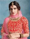 photo of Exclusive Traditional Wear Art Silk Peach Embroidered Designer Lehenga Choli