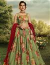 image of Sangeet Function Wear Fancy Fabric Printed Sea Green Color Lehenga Choli