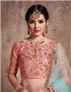 photo of Exclusive Net Fabric Pink Reception Wear Lehenga Choli With Embroidery Work