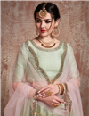 photo of Exclusive Embroidered Net Fabric Designer 3 Piece Lehenga In Green
