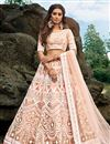 image of Exclusive Designer Embroidered Net Fabric Function Wear Peach Color Lehenga Choli