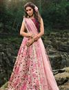 image of Exclusive Designer Net Fabric Function Wear Embroidered Pink Color Lehenga