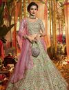 image of Exclusive Embroidered Sea Green Color Wedding Lehenga