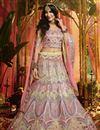 image of Exclusive Cream Color Organza Fabric Reception Wear Lehenga Choli