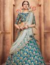image of Exclusive Function Wear Designer Teal Embroidered Art Silk Lehenga Choli