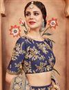 photo of Exclusive Art Silk Embroidered Function Wear Designer Navy Blue Fancy Lehenga Choli
