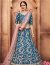image of Exclusive Sangeet Function Wear Art Silk Embroidered Lehenga Choli In Sky Blue