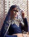 photo of Exclusive Embroidered Wedding Wear Lehenga Choli In Art Silk Fabric Navy Blue
