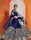 image of Exclusive Embroidered Wedding Wear Lehenga Choli In Art Silk Fabric Navy Blue