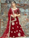 image of Exclusive Wedding Wear Embroidered Fancy Lehenga Choli In Red