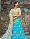 image of Exclusive Embroidered Fancy Wedding Wear Lehenga In Sky Blue