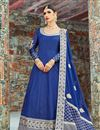 image of Exclusive Long Anarkali Salwar Kameez In Blue With Embroidery Work