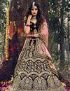 image of Designer Embroidered Maroon Color Wedding Wear Velevet Fabric Lehenga Choli