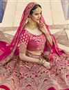 photo of Pink Color Wedding Wear Embroidered Lehenga In Velvet Fabric