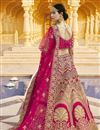 picture of Pink Color Wedding Wear Embroidered Lehenga In Velvet Fabric