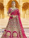 image of Pink Color Wedding Wear Embroidered Lehenga In Velvet Fabric