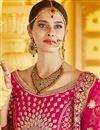 photo of Wedding Wear Pink Color Velvet Fabric Embroidered Lehenga