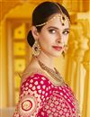 picture of Wedding Wear Pink Color Velvet Fabric Embroidered Lehenga