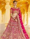 image of Wedding Wear Pink Color Velvet Fabric Embroidered Lehenga