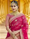 picture of Pink Color Wedding Wear Velvet Fabric Embroidered Lehenga Choli