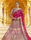 image of Pink Color Wedding Wear Velvet Fabric Embroidered Lehenga Choli