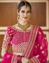 photo of Wedding Wear Pink Color Embroidered Lehenga Choli In Velvet Fabric