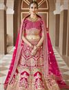 image of Wedding Wear Pink Color Embroidered Lehenga Choli In Velvet Fabric