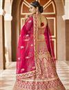 photo of Pink Color Wedding Wear Velvet Fabric Embroidered Lehenga