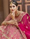 picture of Pink Color Wedding Wear Velvet Fabric Embroidered Lehenga