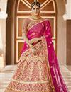 image of Pink Color Wedding Wear Velvet Fabric Embroidered Lehenga
