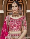 picture of Velvet Fabric Wedding Wear Embroidered Lehenga Choli In Pink Color