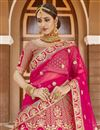 picture of Wedding Wear Velvet Fabric Pink Color Embroidered Lehenga Choli