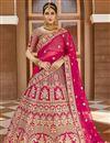 image of Wedding Wear Velvet Fabric Pink Color Embroidered Lehenga Choli